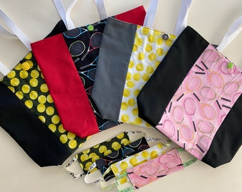 Tennis Mask and Tote Bag Set 100% Cotton  (4 fabric choices!)