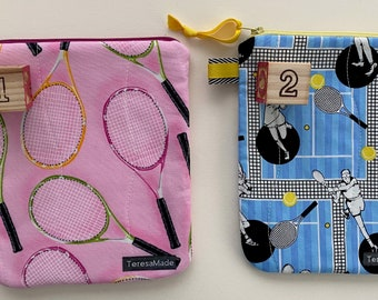 Small Tennis Print Zip Pouch (2 color choices)