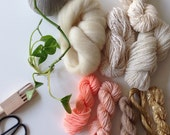 Limited edition!!! Blush gold and neutral yarn pack for using a weaving loom to make a wall hanging including vintage and hand spun fibers