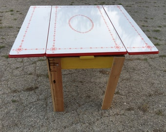 Vintage Red And White Porcelain Enamel Top Tepco Table With 2 Stored Leaves  40x25 Ugo Mochi Yellow Base Utility Drawer Antique Farm Kitchen