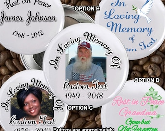 100 In loving Memory of Rest In Peace 2 inch Pin back Buttons