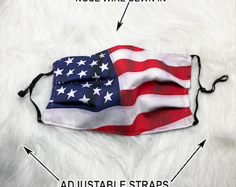 American Flag Face Mask - Filter option - 2 & 3 layer options with Nose Wire 100% Cotton USA face mask with filter pocket State flag