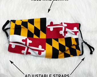 Maryland Flag Face Mask - Filter option - 2 & 3 layer options with Nose Wire 100% Cotton USA face mask with filter pocket State flag