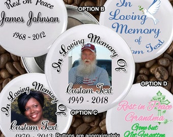 20 In loving Memory of Rest In Peace 2 inch Pin back Button