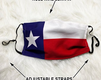 Texas Flag Face Mask - Filter option - 2 & 3 layer options with Nose Wire 100% Cotton USA face mask with filter pocket State flag