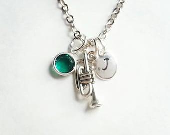 Personalized Silver Trumpet Necklace, Genuine Swarovski Birthstone Crystal, Hand Stamped Initial, Custom Length