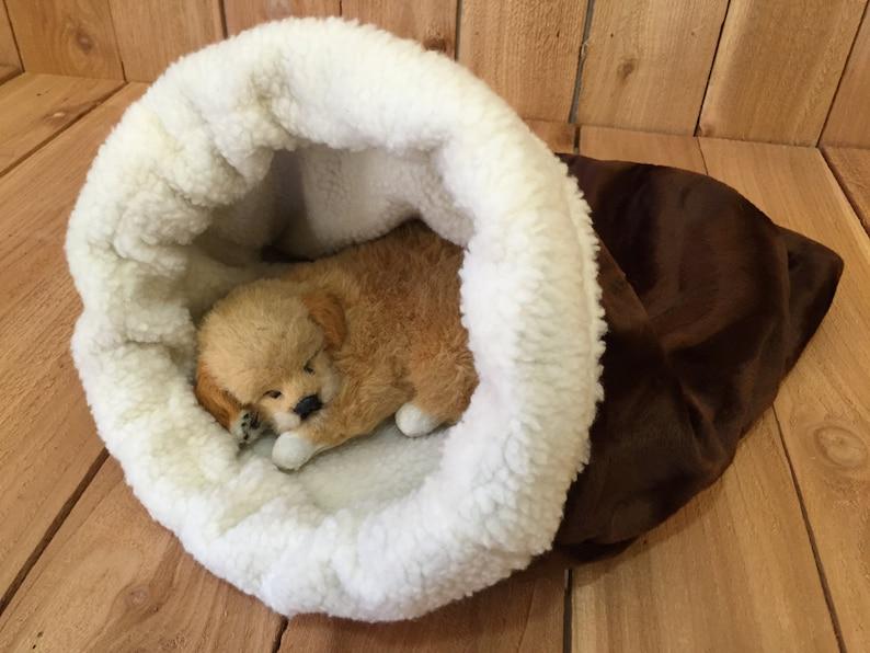 36e444d549ce Snuggle Den Brown Faux Fur Pet Bed Sleeping Bag Den