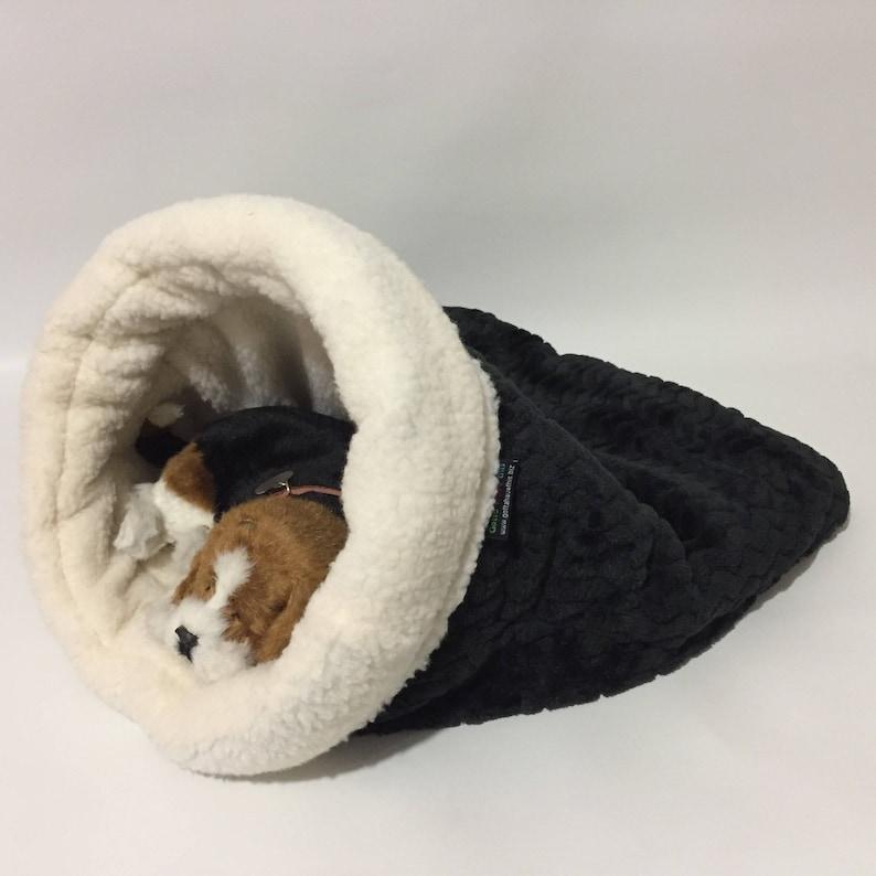 ee502b9d27bd X-Large Snuggle Den Black faux fur Pet Bed Sleeping Bag