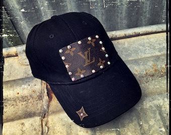 b5a8a71e370f8 LV Louis Vuitton Inspired Black Baseball Cap with AB Swavorski Crystals