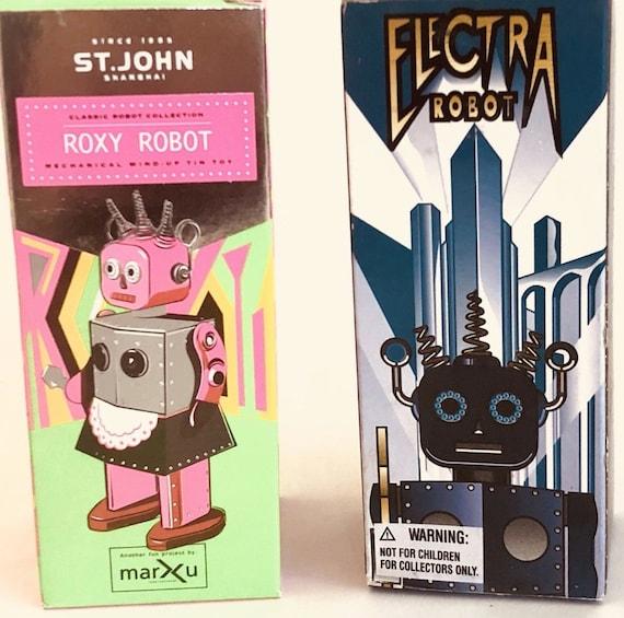 2 Clockwork Girl Robots Elektra And Roxy Tin Toys Etsy