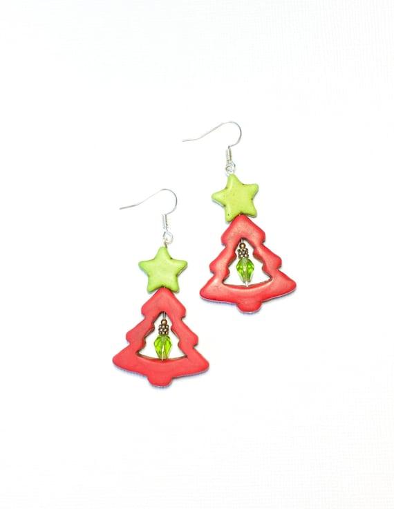 On Sale Red Christmas Tree Earrings Etsy