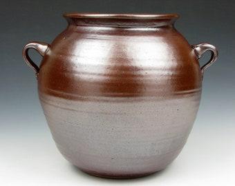 """Vase - Soft - Shino - Stoneware - Metallic Shino - High Iron Shino - 6.5"""" x 7.5"""" x 6"""" - Goneaway Pottery"""