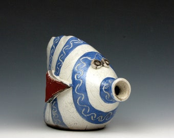 "Raku Fish - Fun - Blue and White - Striped - Carved - Raku - 4"" x 3"" x 5"" - Goneaway Pottery"