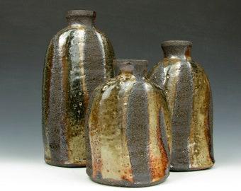 "Rustic Bottle Set - Sculpture Clay - Shino Glaze - 8"" x 4"" x 3"" - 6.5"" x 4"" x 3.5"" - 5.5"" x 4"" x 3.5"" - Goneaway Pottery"
