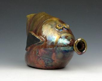"""Raku Fish - Fun - Multi-colored - Striped - Raku - 4"""" x 3.5"""" x 6.5"""" - Goneaway Pottery"""