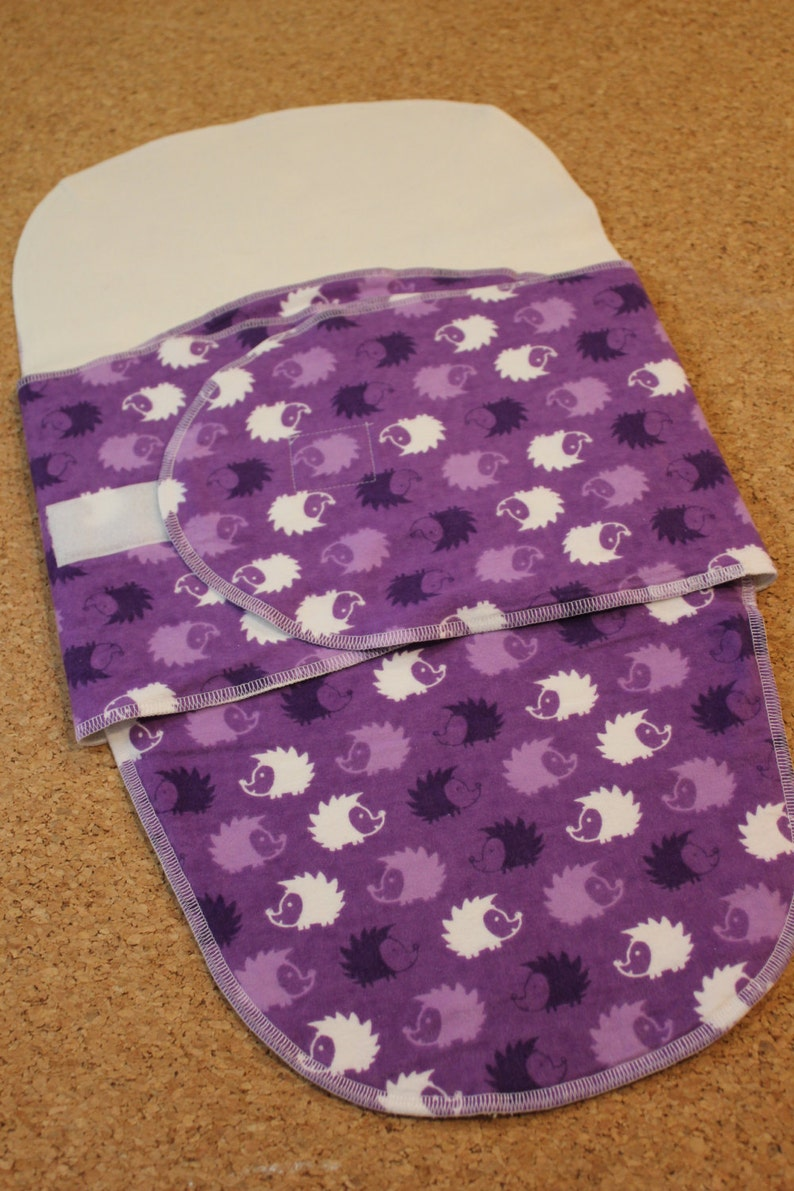 Purple Hedgehogs Organic Cotton Sleep Pocket Swaddle
