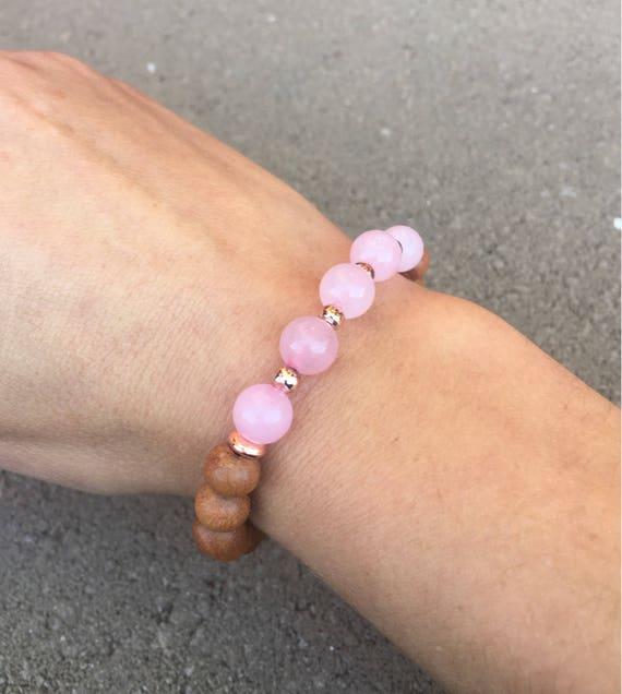Rose Quartz and Sandalwood Gemstone Bracelet, Rose Gold, love, soulmate,  twin flame, Self Love, Wrist Mala, Heart Chakra