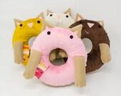 Donut Cat Handmade Plush Toy - Strawberry, Vanilla, Maple, or Chocolate (Kawaii Plush, Plush Donut, Plush Cat, Made In Seattle)