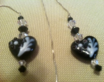 Black and White Lucite Flower Heart Drop Earrings Sterling Silver Chain and Post