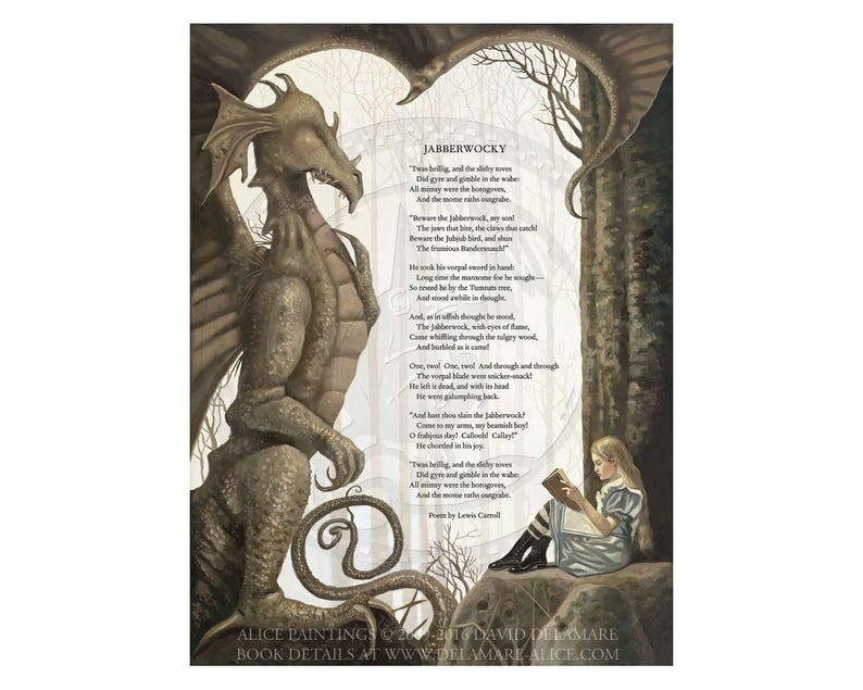 Jabberwocky Poem Alice In Wonderland Giclée Print On Paper By David Delamare