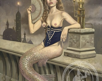 """ELECTRA  Mermaid in Corset with Edison Bulb (Unframed 24""""x32"""" Giclée Print) Art  by David Delamare (Victorian / Steampunk)"""