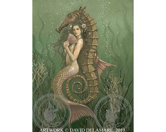 """Mermaid with Seahorse (Unframed  18""""x24"""" Giclée Print) Art  by David Delamare"""