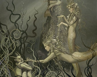 """Rhinemaidens No. 2 (Unframed 24""""x32"""" Giclée Print) Mermaid Art  by David Delamare (Wagner Ring Cycle)"""