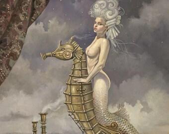 "Mermaid on Mechanical Seahorse (Unframed 24""x32"" Giclée Print) Art  by David Delamare (Victorian / Steampunk)"