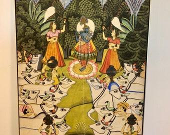 Vintage Krishna Lila oil painting Hindu India