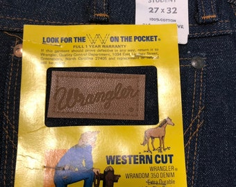 Vintage Wrangler denim jeans Deadstock 1970's Student Western Cut 27x32 Made in the USA