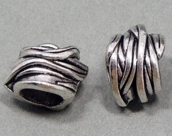 4 Vintage Tibetan Silver Dreadlock Beads Set for Necklace Pendant, Bracelet or any DIY Beading Craft