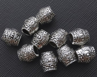 10 Tibetan Carved Silver Metal Dreadlock Beads Set for Necklace Pendant, Bracelet or any DIY Beading Craft