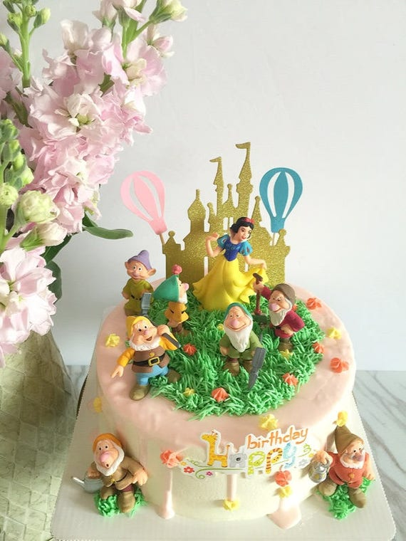 Cake Topper Snow White And The Seven Dwarfs 8 Figure Set Etsy