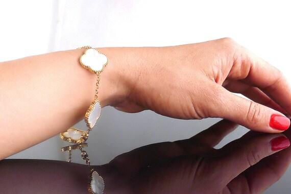 Semi Van Cleef Vintage Alhambra Bracelet Yellow Gold White Etsy