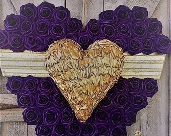 Purple Roses Wreath, Heart Shaped Wreath, Heart, Anniversary, Door Decor,Front Door, Purple and Gold Heart, Heart of Roses, Roses Wall Decor