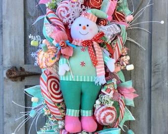 Christmas Swag, Christmas Wreath, Candyland, Snowman Swag, Pink n Mint, Pastel Color,Peppermint Snowman, Winter, Uptown Design, Elegant Door