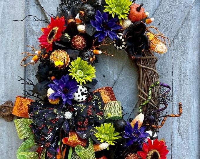 Featured listing image: Halloween Grapevine, Halloween Wreath, Glitzy, Glam, Sparkly, Glitter Ribbon, Home Decor, Halloween Oval Rag Bow Door Decor