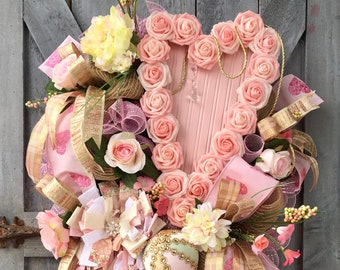 Shabby Chic Wreath, Romantic, Romance, Love, Anniversary, Valentine's Day, Heart Roses, Wedding, Reception, Party, Engagement Announcement