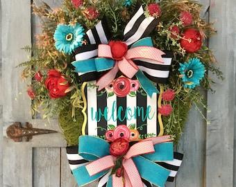 Spring Wreath, Summer Wreath, Moss, Florals, Flowers, Door Decor, Handpainted Welcome Sign, Moss Grapevine Wreath, Front Door Decor, Stripe