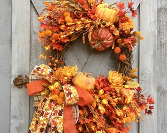 Autumn Grapevine Wreath, Fall Grapevine Wreath, Front Door Wreath, Fall Leaves, Orange and Yellow, Home Decor, Pumpkins, Fall Florals