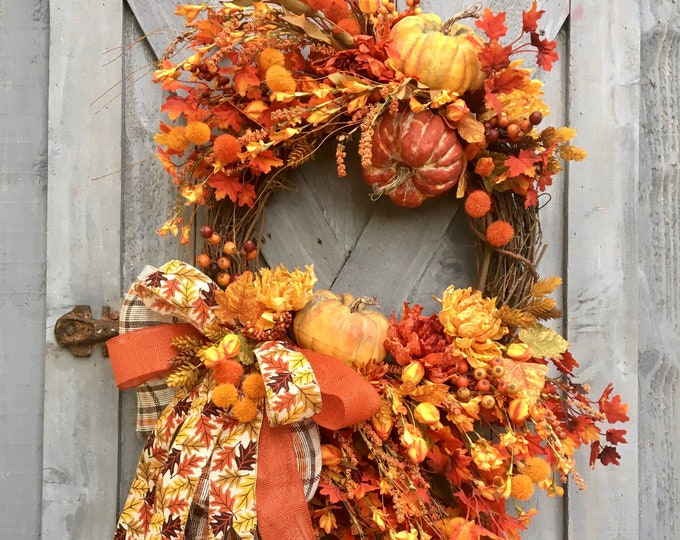 Featured listing image: Autumn Grapevine Wreath, Fall Grapevine Wreath, Front Door Wreath, Fall Leaves, Orange and Yellow, Home Decor, Pumpkins, Fall Florals