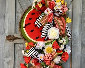 Summer Wreath, Summer Swag, Watermelon Wreath, Spring Swag, Spring Wreath, Watermelon Swag, Door Wreath, Home Decor, Front Door Wreath, Ant