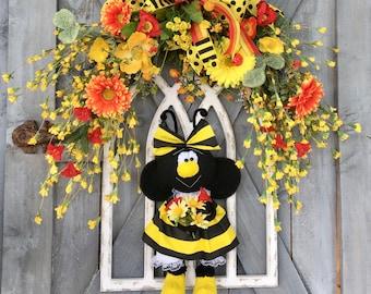 Summer Wreath, Bee Wreath, Wood Arch Wall Décor, Wildflowers, Everyday Wreath, Yellow Bee Girl, Prim Girl Bee Doll, Door Decor