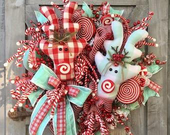 Christmas Wreath, Reindeer Wreath, Deer Wreath, Mint and Red, Pastel and Red, Holidays, Whimsical Christmas, Buffalo Check Deer, Plush Deer