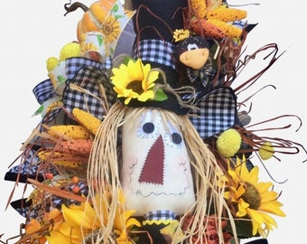 Scarecrow Swag, Scarecrow Wreath, Fall, Autumn Swag, Front Door Decor, Hand Sewn Scarecrow, Scarecrow with Legs, Crows, Corn, Pumpkins