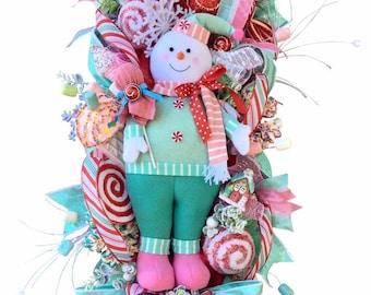 Christmas Swag, Christmas Wreath, Candyland, Snowman Swag, Pink n Mint, Pastel Color, Peppermint Snowman, Winter Snowboy, Elegant Door