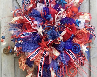 Patriotic Wreath, America, Little Red Truck Ribbon, Red White and Blue, Fourth of July, 4th of July, Memorial Day, Flag Day, Veterans Day