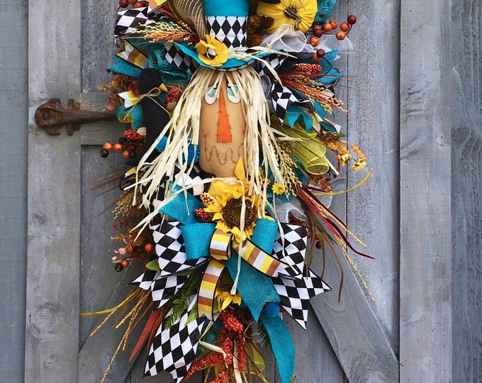 Featured listing image: Scarecrow Swag, Scarecrow Wreath, Fall Wreath, Autumn Swag, Crow Wreath, Corn Wreath, Whimsical Fall Wreath, Mr. Scarecrow Swag