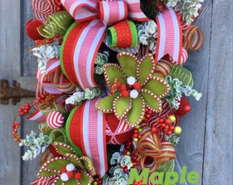 Christmas Swag, Christmas Wreath, Front Door Swag, Front Door Wreath, Peppermint Wreath, Holiday Swag, Red and Green Wreath, Teardrop Swag