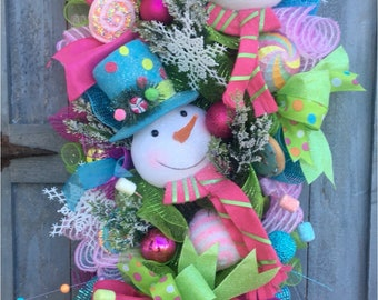 Christmas Swag, Christmas Wreath, Front Door Swag, Front Door Wreath, Snowman Wreath, Holiday Swag, Pink, Green, Blue Wreath, Teardrop Swag